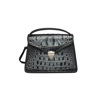 Claremont - Small - Black and Silver Croc