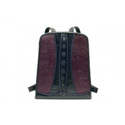 Backpack with Dots - Larger - Aubergine Ripple, Black And Sapphire