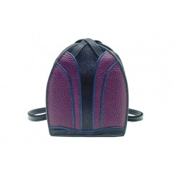 Monterey Backpack/Tote - Standard - Aubergine Emu, Black And Sapphire