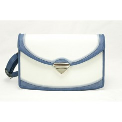 Saratoga - Medium - White And Periwinkle Burma