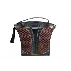 Grecian Urn Tote - Large - Brown Quilt, Black and Olive