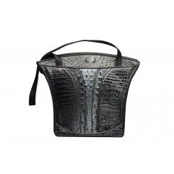 Grecian Urn Tote - Large - Black and Silver with Grey Piping