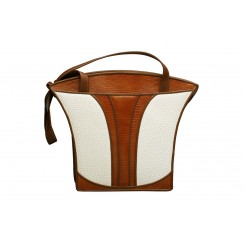 Grecian Urn Tote - Large - Linen Emu with Cedar Overlay