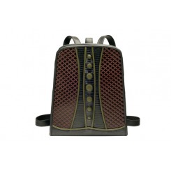 Backpack with Dots - Larger - Brown Quilt, Black And Olive