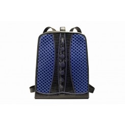 Backpack with Dots - Larger - Sapphire Quilt, Black And Sapphire