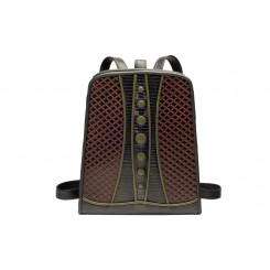 Backpack with Dots - Standard - Brown Quilt, Black And Olive