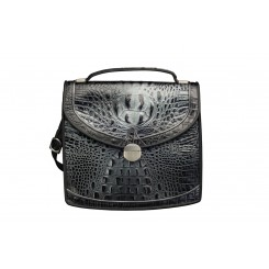 Sausalito - Large - Black and Silver Croc with Grey Piping