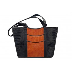 Gayle's Tote - Larger - Black And Cedar Burma