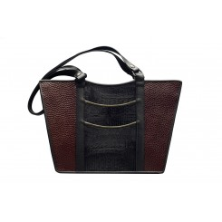 Gayle's Tote - Larger - Brown Emu, Black And Olive
