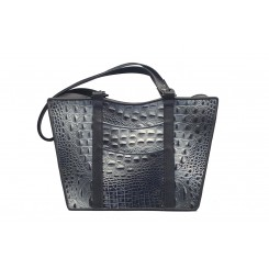 Gayle's Tote - Larger - Black & Silver Croc