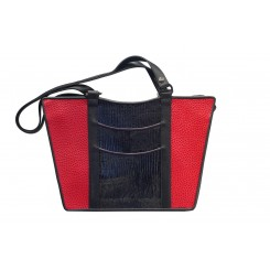 Gayle's Tote - Larger - Red Emu, Black And Purple