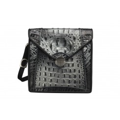 Newport - Large - Black/Silver Croc