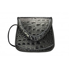 Basia - Small - Black/Silver Croc